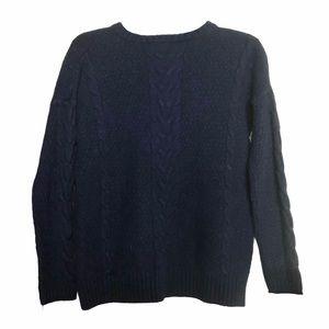 Madewell Wool Yak Hair Dark Blue Crew Neck Sweater